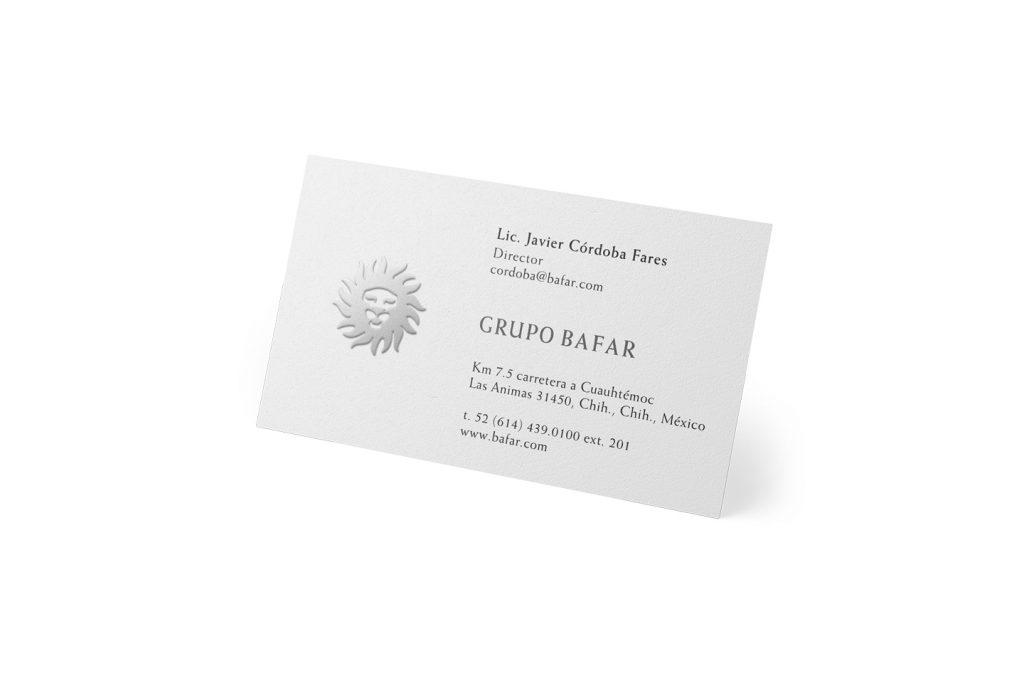 tarjetas de presentacion grupo bafar
