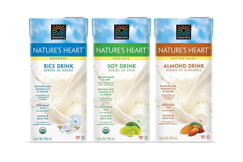 bebida de arroz, de soya y de almendra orgánica Nature's heart