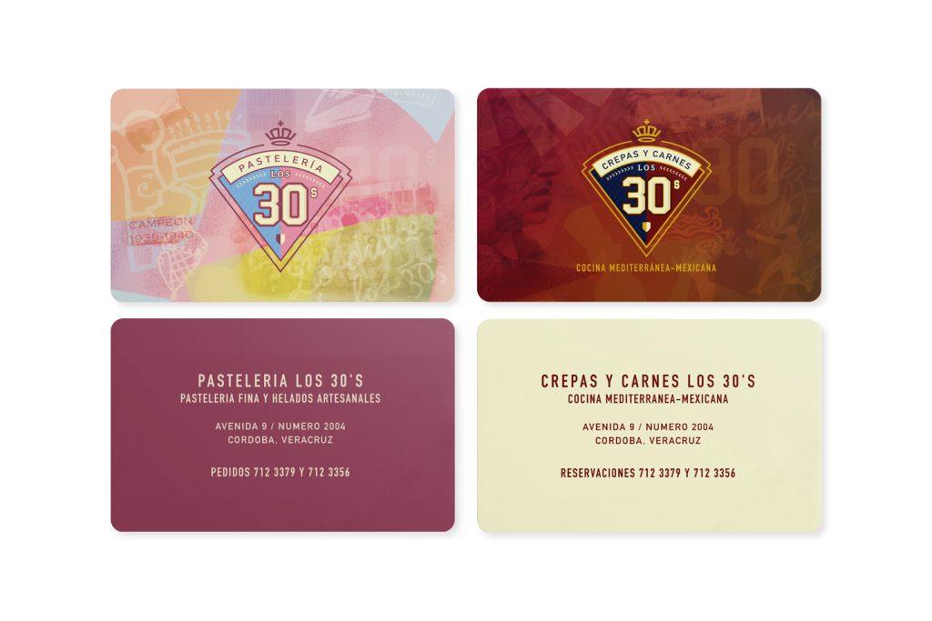 tarjetas de presentación los 30´s