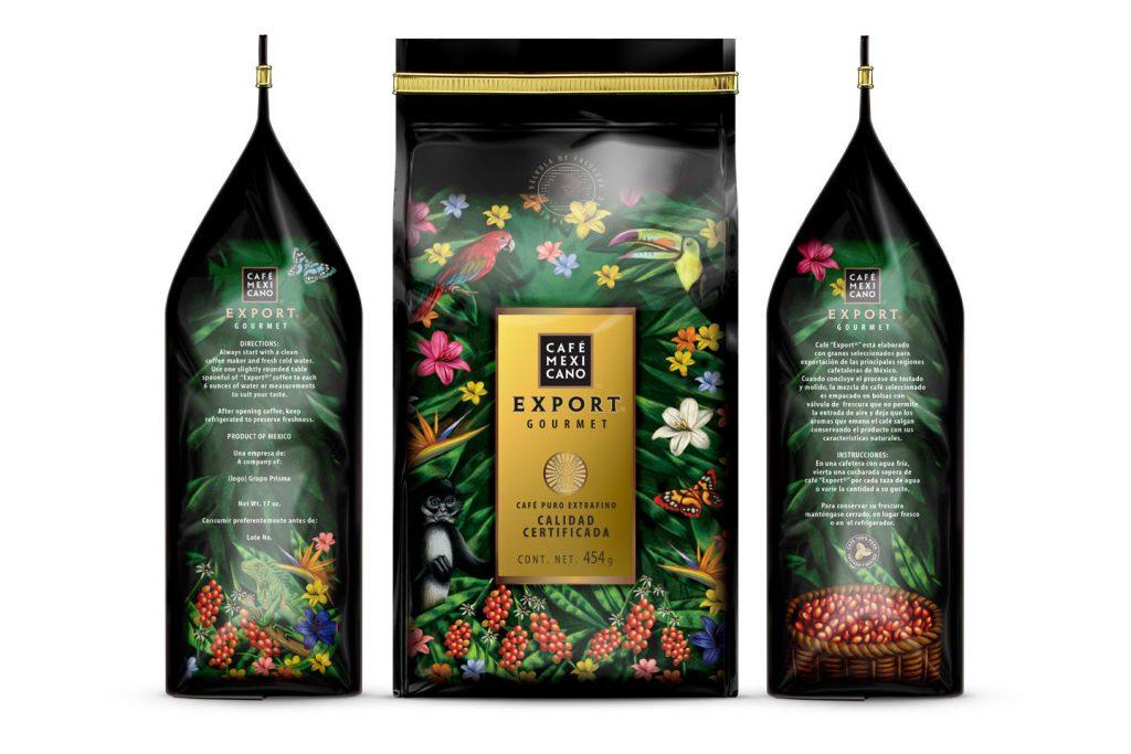 cafe mexicano export empaque diferentes vistas