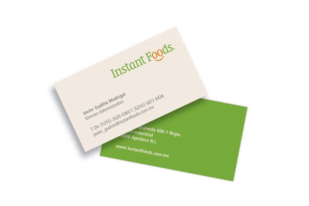 tarjetas de presentación instant foods