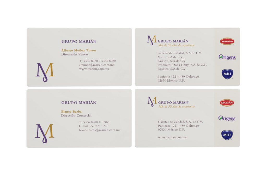 tarjetas de presentación grupo marián