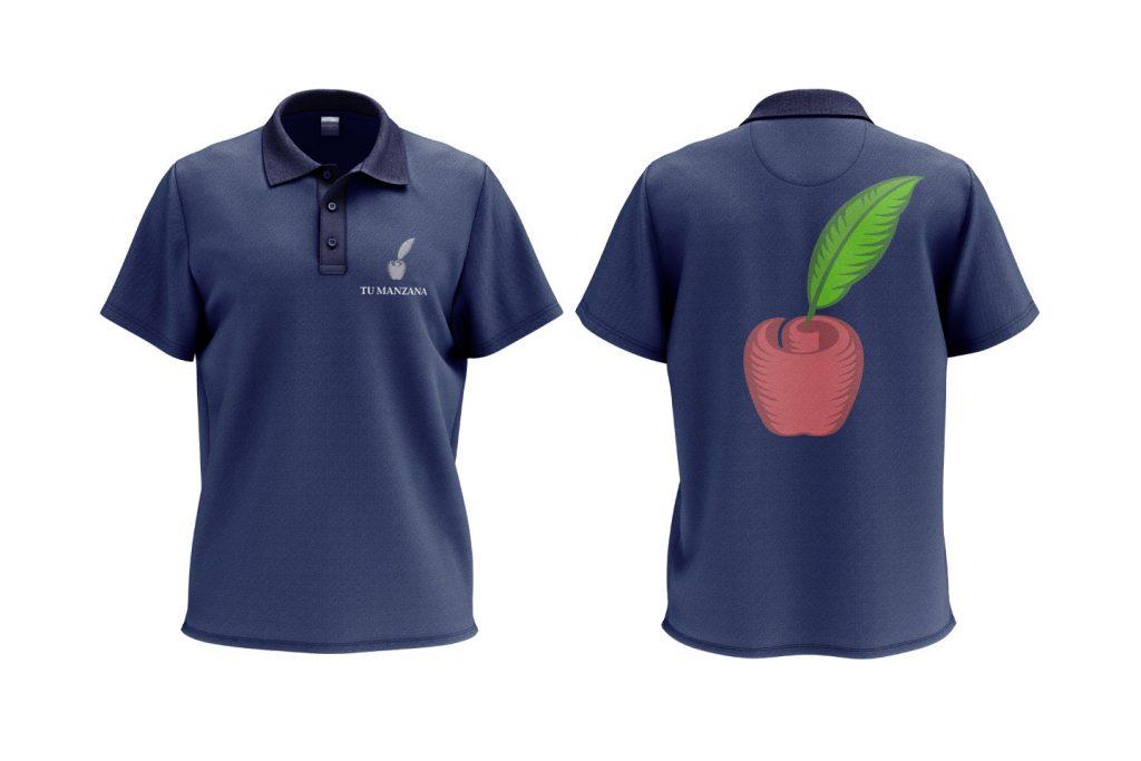 aplicacion a color en playera tipo polo tu manzana