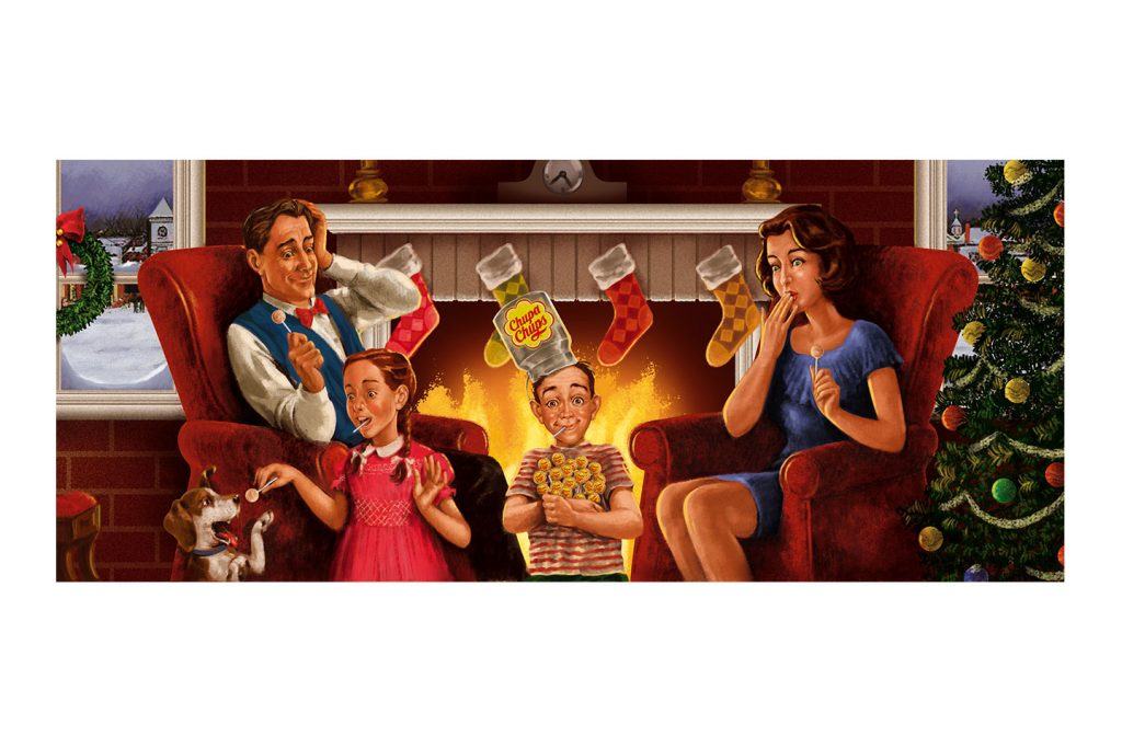 chupa chups ilustración conmemorativa navidad