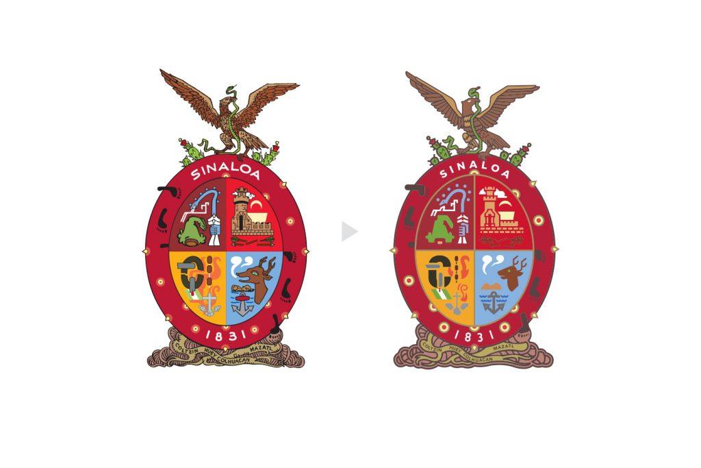 escudo de Sinaloa antes y después