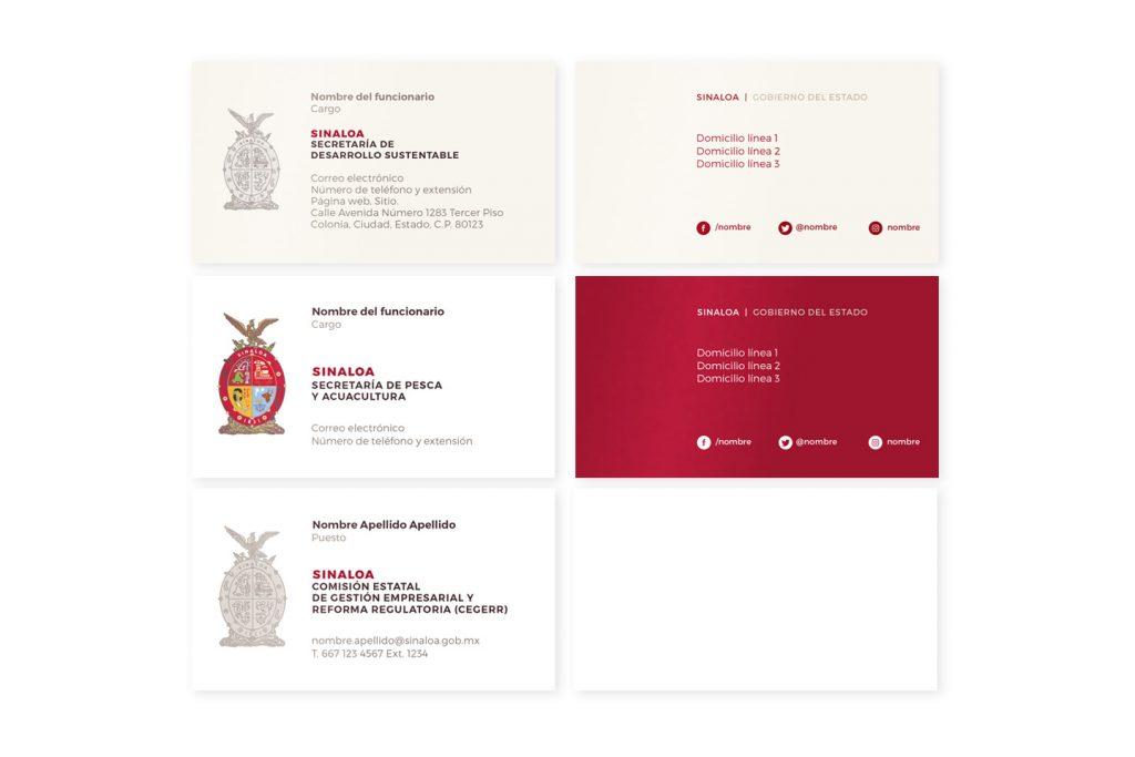 tarjetas de presentación de Sinaloa